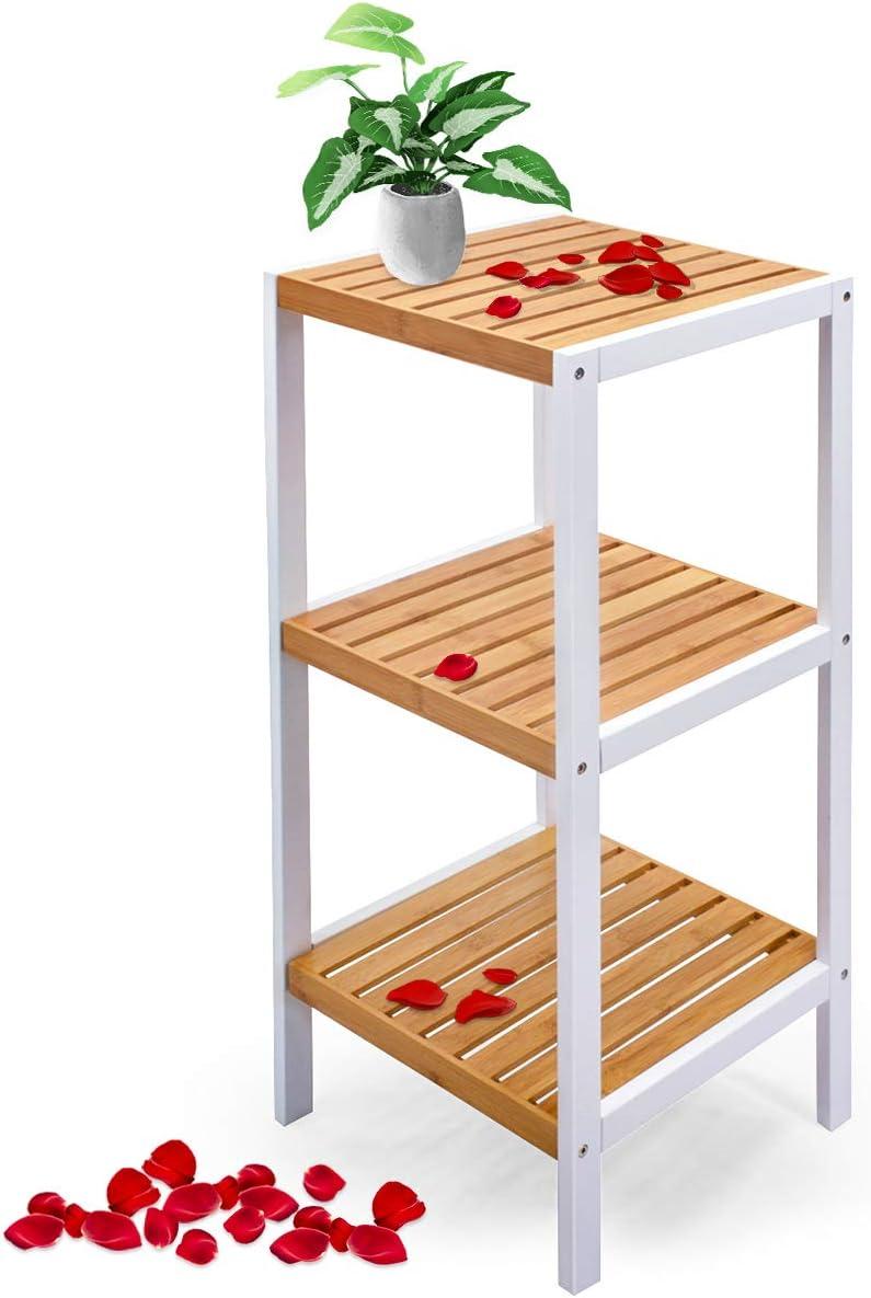 Scaffale per bagno cucina comodino con 2 ripiani scaffale angolare in bamb/ù