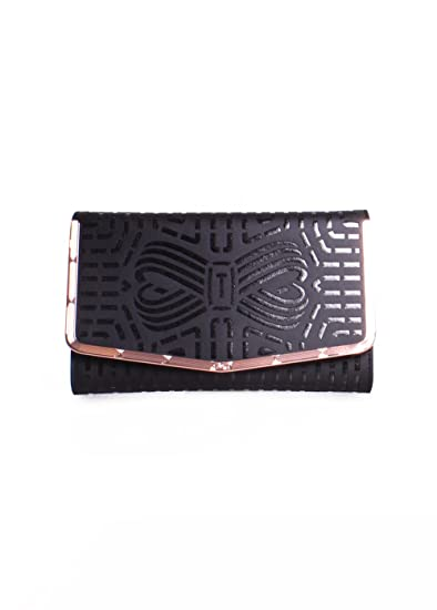 94ebc73fc06 Ted Baker London Bree Leather Laser Cut Bow Clutch Bag in Black:  Amazon.co.uk: Clothing