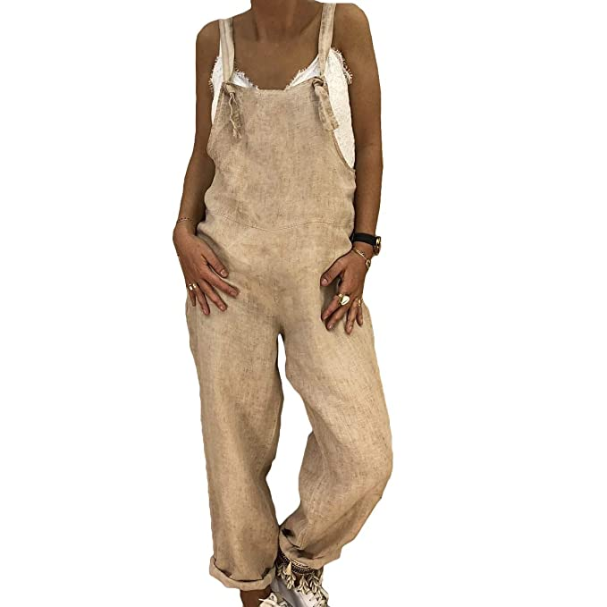 Pantalones para Mujer Suelta Mono Babero Pantalones Decoración del Metal  Correa De Hombro Ajustable Algodón Y Lino Monos Suelto De La Mujer   Amazon.es  Ropa ... 02c525626928