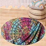 VROSELV Custom carpetNew launched Popular Twin tye dye Hippie Elephant Mandala Indian Traditional Beach Throw Art College Dorm Bohemian Twin Bedspread By Popular Handicrafts Round 72 inches