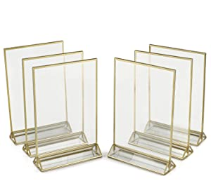 Super Star Quality Clear Acrylic Double Sided Frames With Gold Borders and Vertical Stand (Pack of 6)) | Ideal for Wedding Table Numbers, Double Sided Sign, Clear Photos, Menu Holders