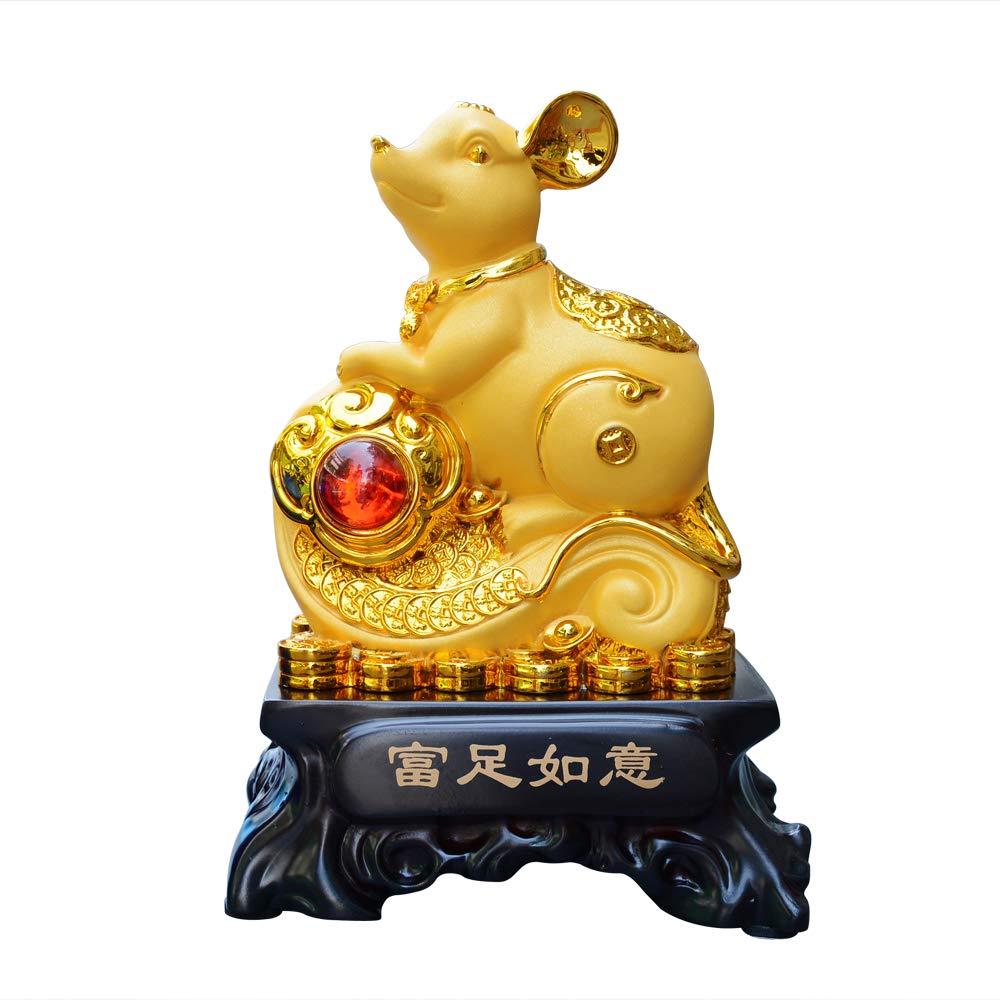 colecci/ón de Regalo para la Buena Suerte RA-DDFC Estatua de Rata//rat/ón del a/ño 2020 del Zodiaco Chino decoraci/ón para el hogar y la Oficina Dorado YeBon Feng Shui