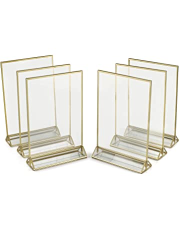 39298544f1d4 Super Star Quality Clear Acrylic Double Sided Frames With Gold Borders and  Vertical Stand (Pack