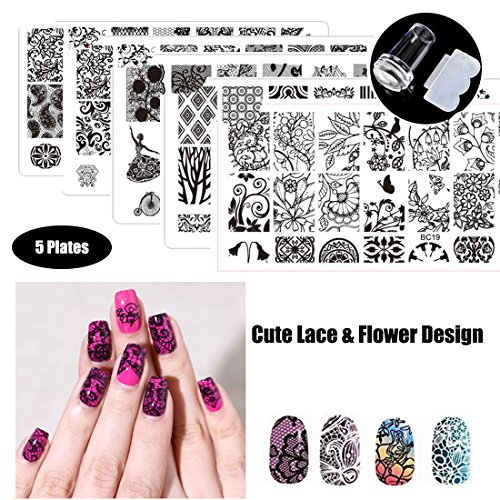 Nail Art Stamp Stamping Templates Stamper Scraper Kit- 5 Manicure Lace And Flower Image Printing Plates Set with 1 Polish Stamper by Salon Designs -