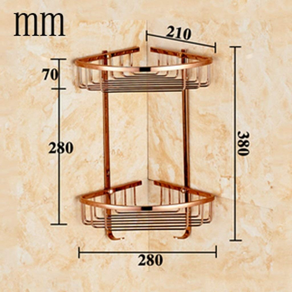 2nd Floor Bathroom Rack Large Capacity Shower Caddy Copper Corner Storage Rack for Hotels Creative Bathroom Shelf