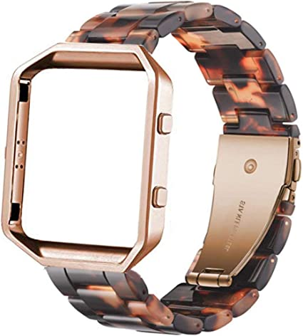 Ayeger Resin Band Compatible with Fitbit Blaze,Women Men Metal Frame Housing+ Resin Accessory Band Wristband Strap Blacelet for Fitbit Blaze Smart ...