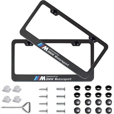 Fubai Auto Parts 2pcs M Motorsport Stainless Steel License for BMW Plate Frame with Screw Caps Cover Set, Matte Black: Automotive