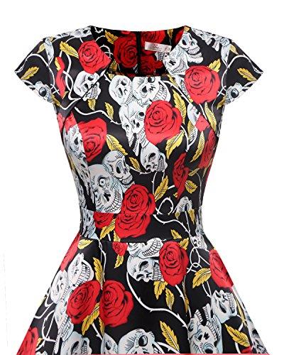 Manga Cap Vintage Mujeres Skull Rose 1950 Swing Homrain Vestido Rockabilly cóctel Black tqFSIn