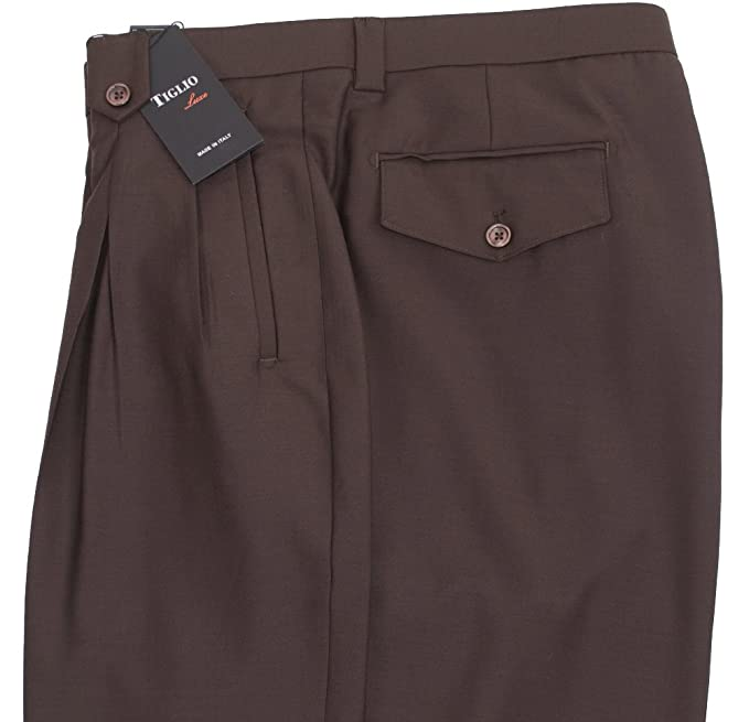 Retro Clothing for Men | Vintage Men's Fashion Tiglio Brown Wide Leg Dress Pants Pure Wool $99.00 AT vintagedancer.com
