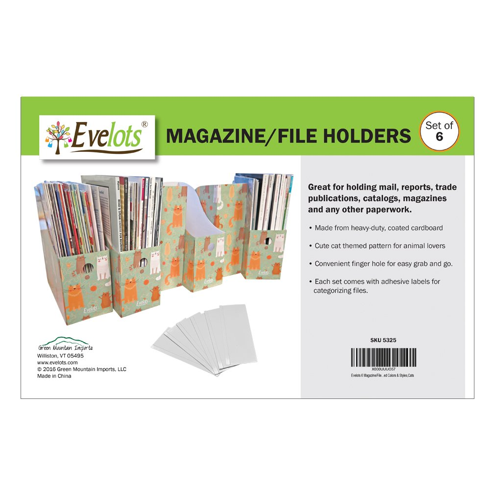 Evelots Magazine File Holder-Organizer-Full 4 Inch Wide-Cat Style-W//Labels-Set//6