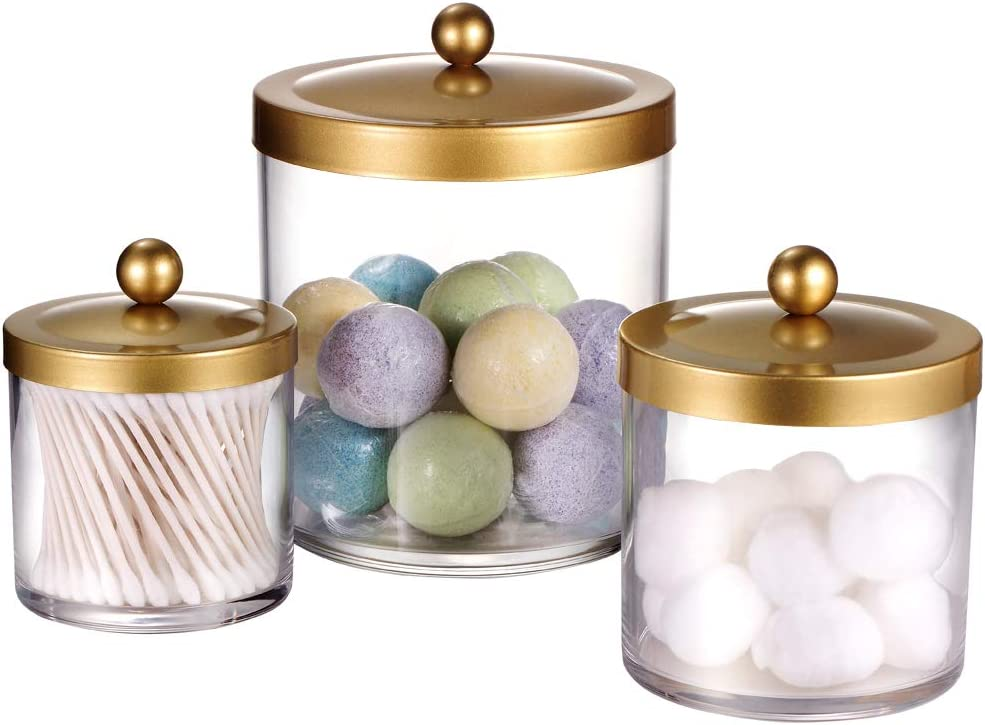 Premium Quality Apothecary Jars - Clear Plastic Storage Jars with Rust Proof Stainless Steel Lids - Bathroom Vanity Countertop Storage Organizer Canister Holder House Decor   Set of 3 (Gold)