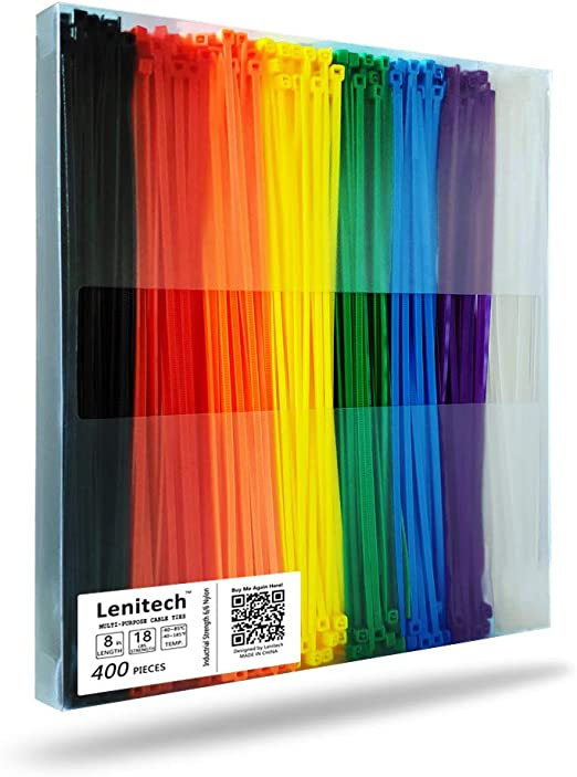 Lenitech 8 Inch 400 Pcs Multi-Purpose Cable Ties, Assorted Colored
