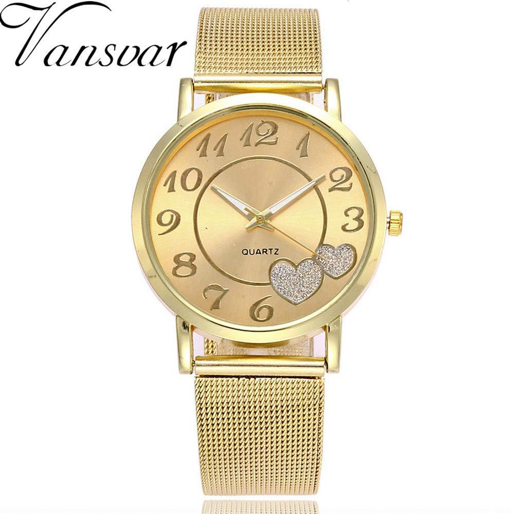 Modaworld Relojes de Moda Parejas Nuevo Reloj de Pulsera analógico Mujer Hombre Reloj Casual de Cuarzo con Banda de Acero Inoxidable Regalo de San Valentin: ...