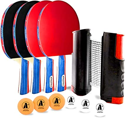 4 Pack Ping Pong Paddle  6 Game Balls Table Tennis Set with Table Tennis Net