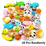 (US) BUDI 20 Pcs Kawaii Squishies Slow Rising Jumbo/Medium/Mini Random Cake Bread Panda Bun with Phone Straps Kids Pretend Play Squishies Charms (Squishies 20Pc)
