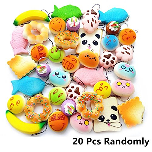 BUDI 20 Pcs Kawaii Squishies Slow Rising Jumbo/Medium/Mini Random Cake Bread Panda Bun with Phone Straps Kids Pretend Play Squishies Charms (Squishies (Sensory Friendly Halloween Party)