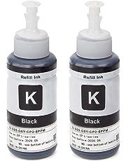 UniPlus 2 Pack Ink Replacement for Epson T6641 (70ml Black Ink) Compatible for Epson EcoTank ET-2500 ET-2550 ET-2600 ET-2650 ET-3600 ET-4500 ET-4550 ET-14000 L350 L355 L555 Printers