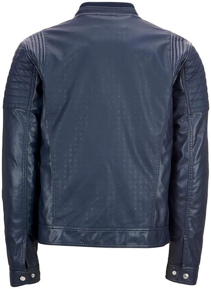RedSeam Mens Genuine Lambskin Leather Motorcycle Slim Fit Biker Bomber Jacket RM090