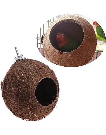 Mentin Nido de pájaros Nido de cáscara de Nuez de Coco para periquitos Budgerigar y pequeño