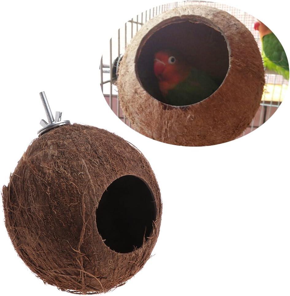 Mentin Nid d'oiseaux Nid de Coquille de Noix de Coco pour perruches Budgerigar et Petit Animal Domestique avec Vis