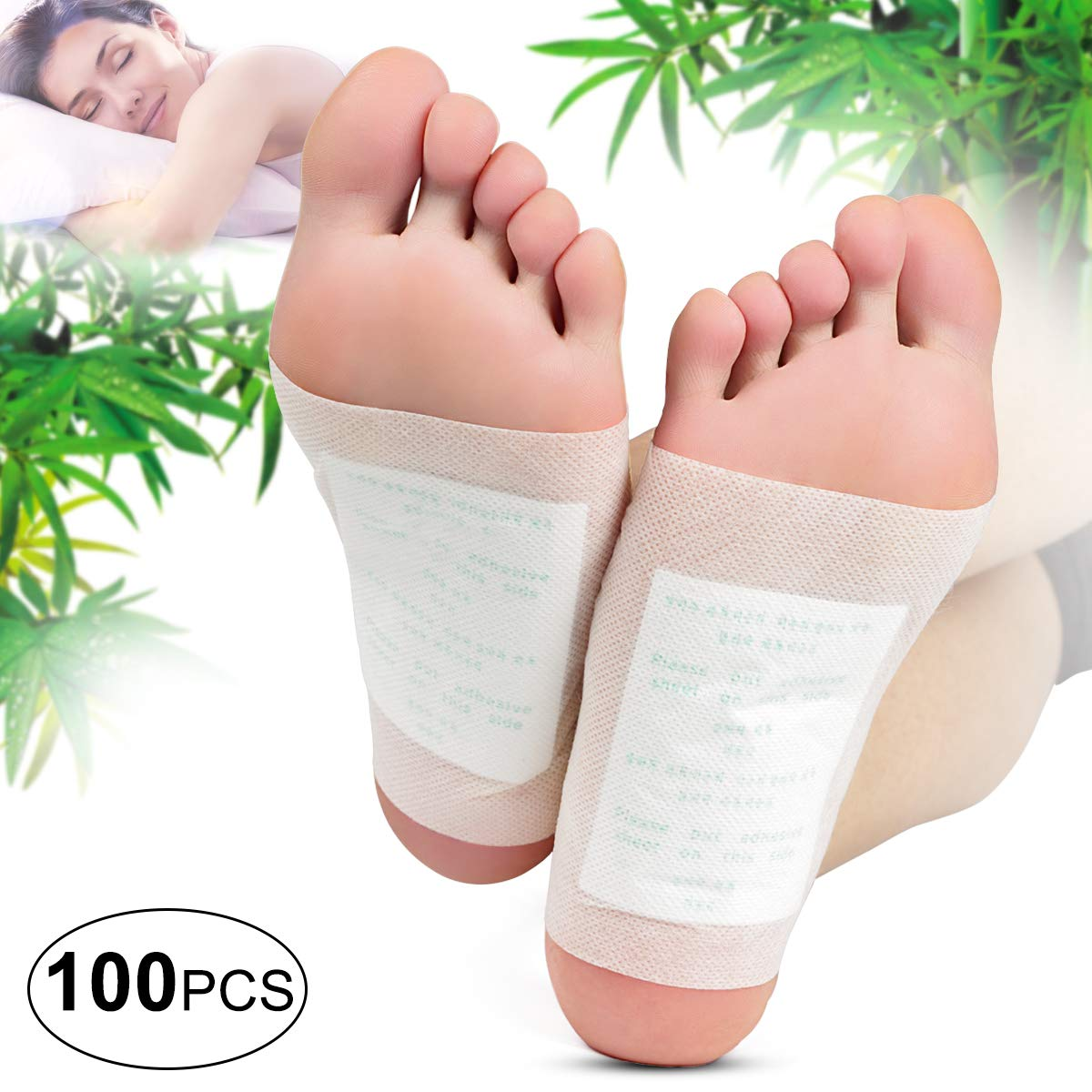 Foot Pads - (100pcs) Natural Cleansing Foot Pads for Foot Care, Sleeping & Anti-Stress Relief, No Stress Package - 100 Packs by BON'TIME