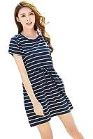 Epmami Women's Short Sleeves Breastfeeding and Nursing Striped Summer Dress