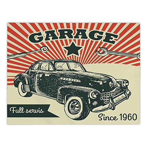 iPrint Rectangular Satin Tablecloth,Cars,Retro Car and Garag