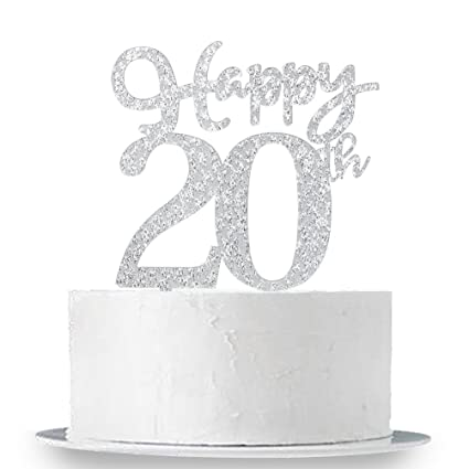 d29d056fafd Happy 20th Cake Topper, Glitter Silver 20th Birthday Wedding Anniversary  Party Cake Topper Decoration Sign