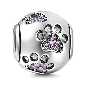 Dog Paw Print Silver Charm Bracelet Bead - Sterling Silver 925 5RBMPsGNj