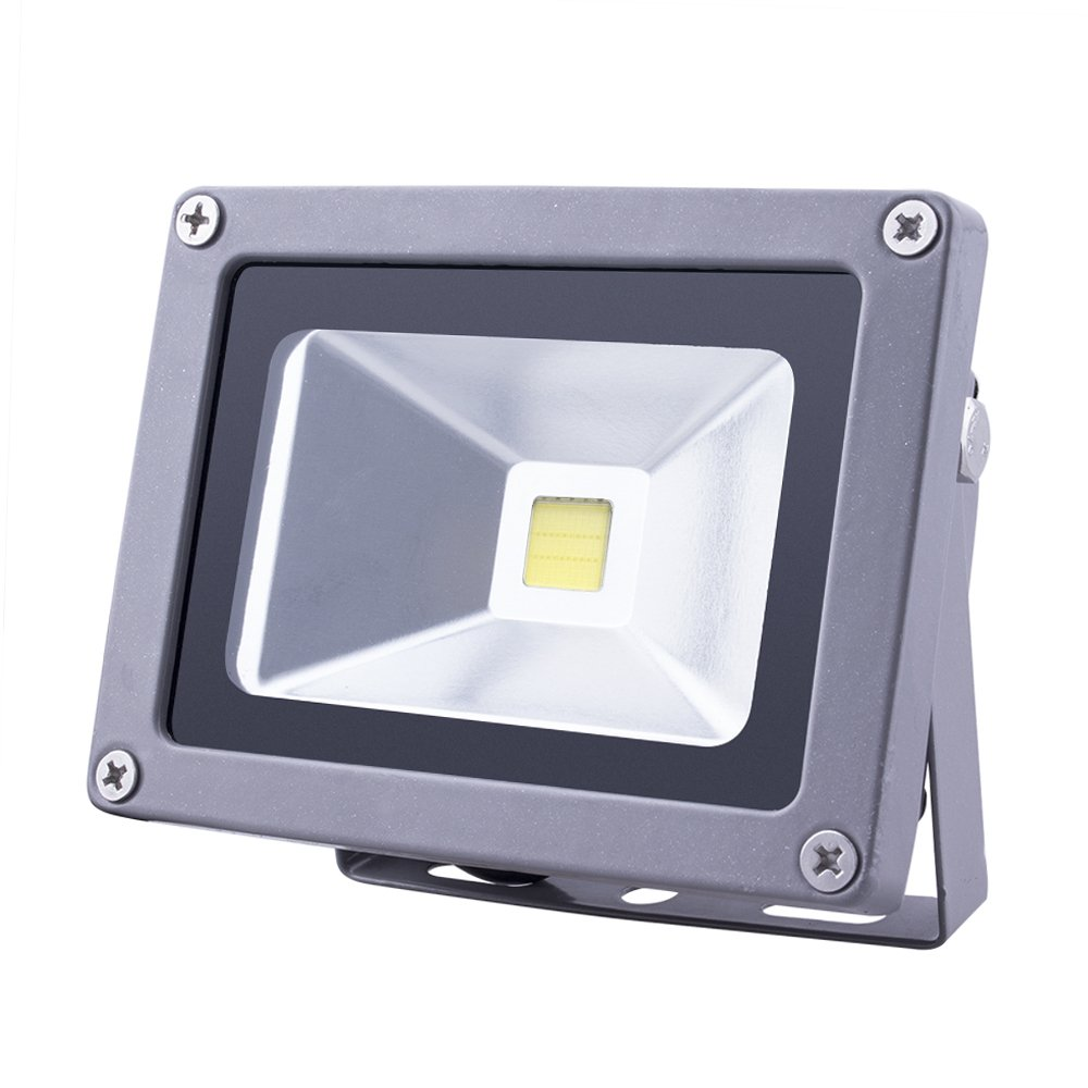 (Promotions) Comwinn Outdoor LED Flood Light, 10W Daylight White 6500K Waterproof Security Lights with US 3-Plug for Garden,Scenic Spot,Hotel (DAYLIGHT WHITE)