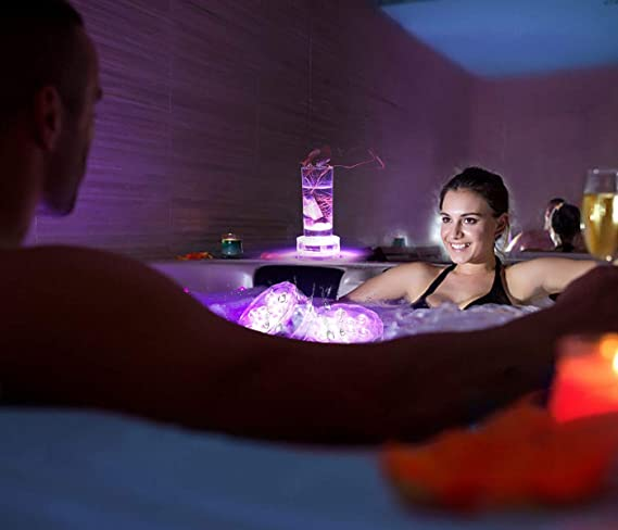 Luz LED sumergible con control remoto de RF - Alilimall Luces LED con imán Luz LED a pilas brillante impermeable para piscinas Peceras Decoraciones para el ...
