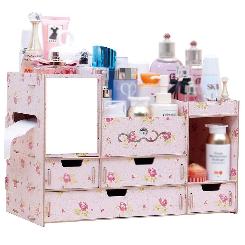RMXMY Cosmetic Storage Box Drawer Storage Rack Dresser Wooden Finishing Rack Desktop Skin Care Storage Box Multi-Color Optional (Color : B)