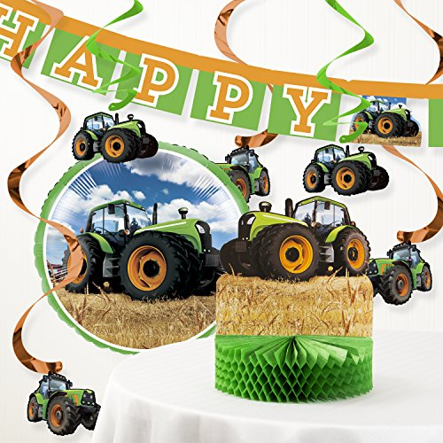 Creative Converting Tractor Time Birthday Party Decorations Kit -
