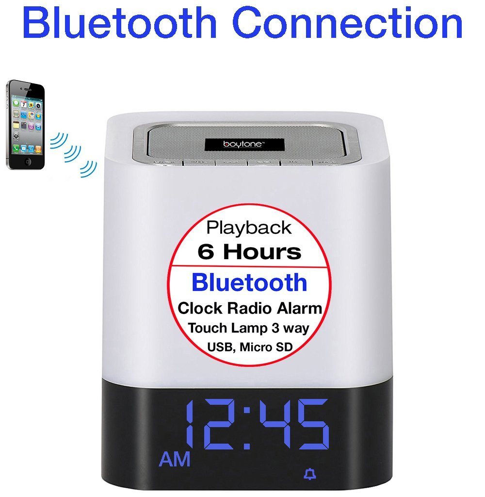 Boytone BT-84CB Portable FM Radio Alarm Clock Wireless Bluetooth 4.1 Speaker, 3-Way Night Light Touch Lamp, Built– in 8 Hours Play Rechargeable Battery, LED, Mic, USB & Micro SD Slot, AUX, 110/220v