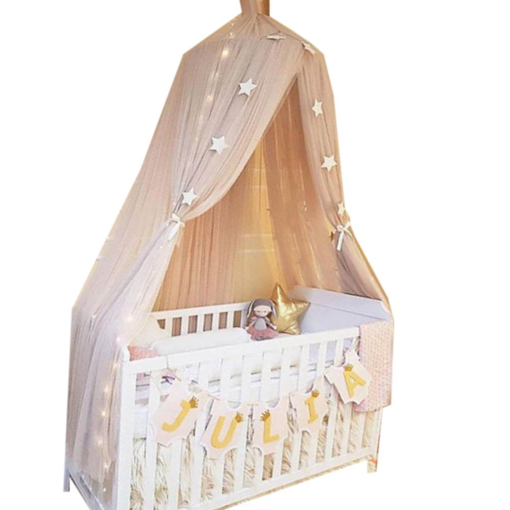 POPPAP Priness Bed Canopy, Girls Bed Dome Canopy Hanging Mosquito Net for Girls Kids Baby Crib Khaki Color
