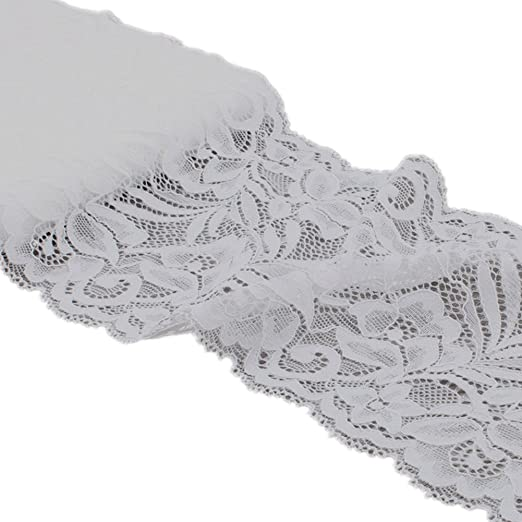 "3 yards white poly stretch ruffle lace elastic sewing trim 1/"" wide G#E"