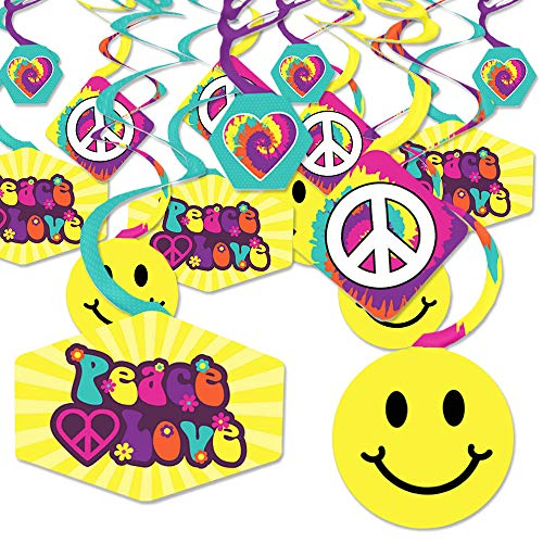 60's Hippie - 1960s Groovy Party Hanging Decor - Party Decoration Swirls - Set of -