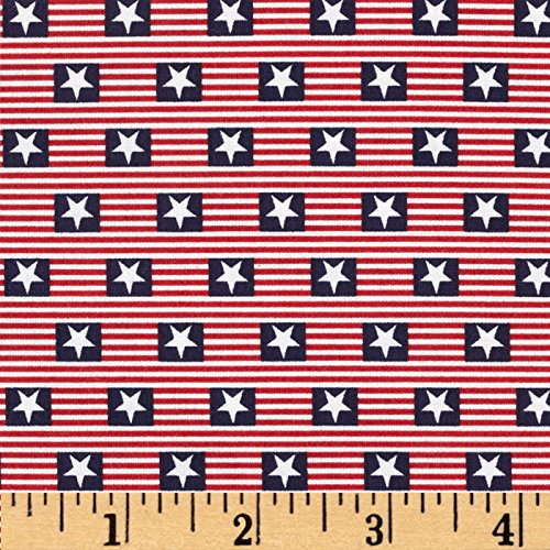 Patriotic Cotton Fabric Stars (Made in the USA Stars & Stripes Red White Blue Fabric By The)