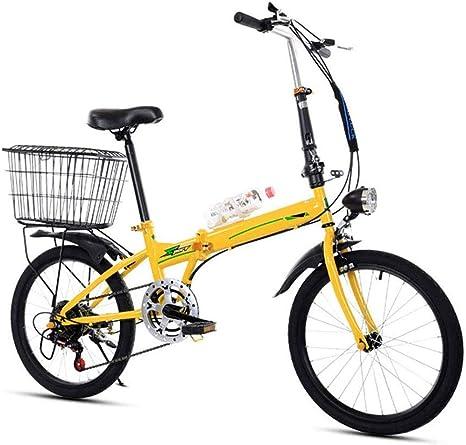 Bicicleta Plegable, 20 Pulgadas Portátil Plegable De Dos Ruedas Mini-Frame Pedal Del Coche Eléctrico De Aleación De Aluminio Ligero Plegable Ciudad De Bicicletas Estudiante De Educación,Amarillo: Amazon.es: Deportes y aire libre