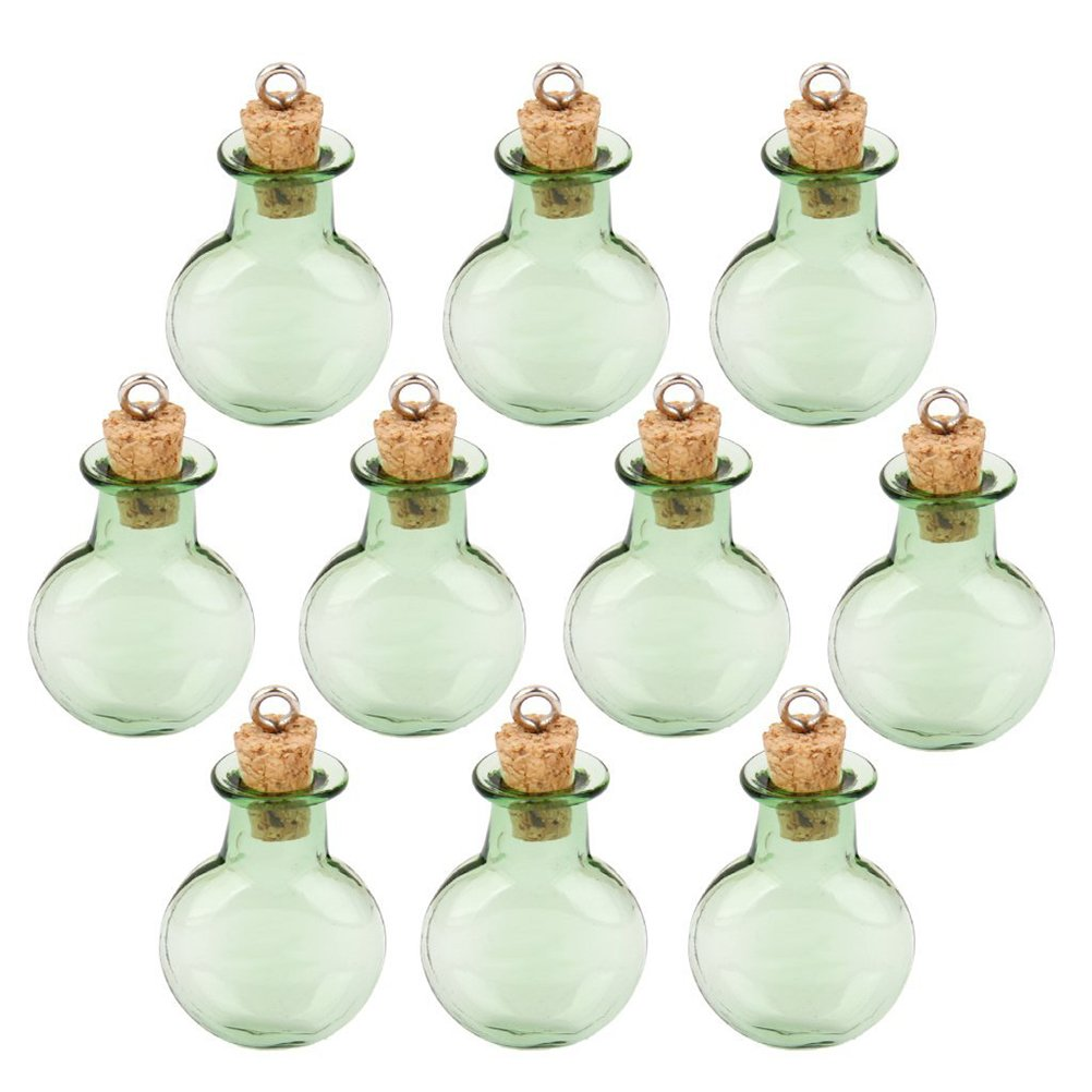 Tinksky Mini Tiny Green Glass Cork Bottles Round Flat Vial Wishing Bottle DIY Pendants for DIY, Arts Crafts, Projects, Home Decoration, Birthday Gift, Party Favors, Pack of 10 No Model