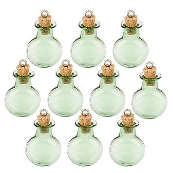 ROSENICE botellas de Mensaje Mini Botella de Vidrio 10 Pcs (Verde)