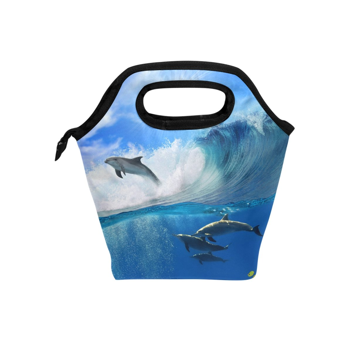 Bettken Lunch Bag Ocean Sea Animal Dolphin Insulated Reusable Lunch Box Portable Lunch Tote Bag Meal Bag Ice Pack for Kids Boys Girls Adult Men Women