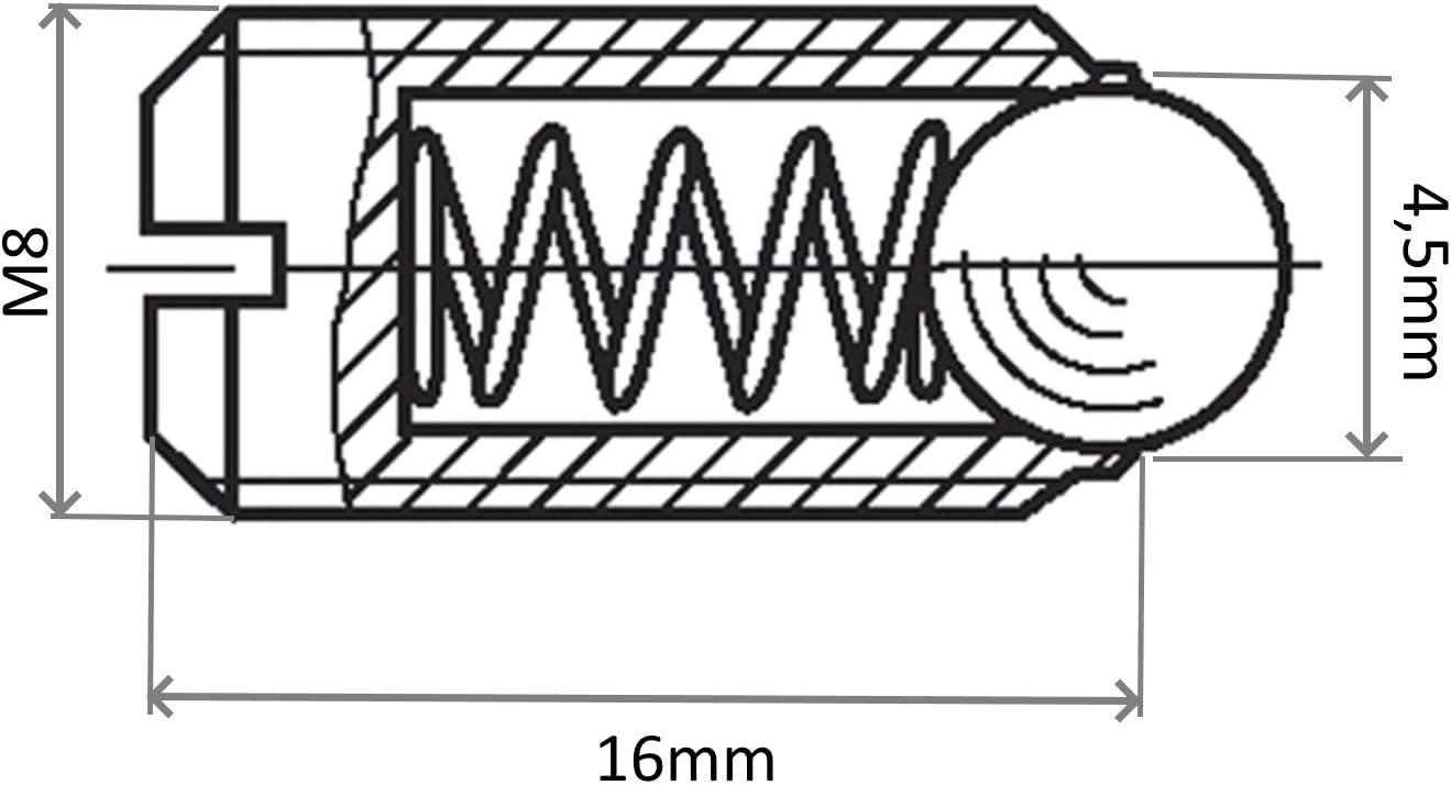 acero bru/ñido C43476 Longitud 16mm AERZETIX: Juego de 2 tornillos posicionador de resorte con bola pulsador de muelle Tama/ño M8