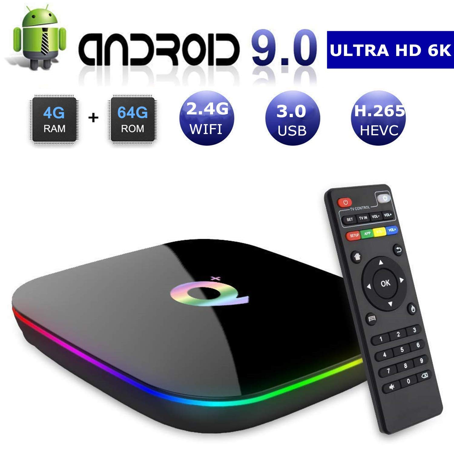 Android 9.0 Smart TV Box, 4GB RAM 64GB ROM Linkplus Q Plus H6 Quad-core cortex-A53 Frequency 2G Mali-T720MP2 WiFi 2.4GHz Support 6K H.265 HDMI 2.0 Output Ethernet RJ-45 with USB 3.0 by Link Plus