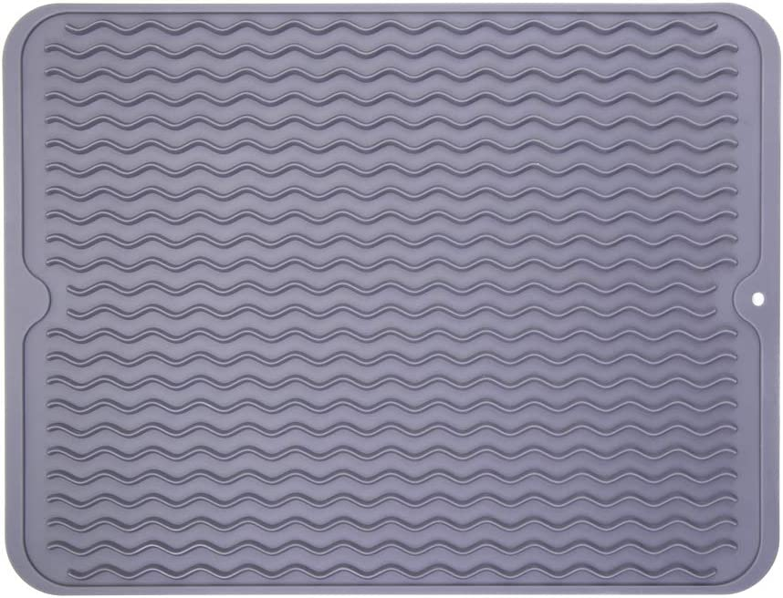 """Piduules Eco-friendly Silicone Dish Drying Mat 15.8"""" x 12"""" Large Reusable Non-slipping and Heat Resistant Dish Quick Drying Pad, Dishwasher Safe (Gray Large)"""