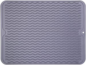 "Piduules Eco-friendly Silicone Dish Drying Mat 15.8"" x 12"" Large Reusable Non-slipping and Heat Resistant Dish Quick Drying Pad, Dishwasher Safe (Gray Large)"