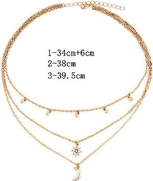 ILUE Halskette Multilayer Kette Rosegold Gold Circle zweireihig Layer Kristall ♥