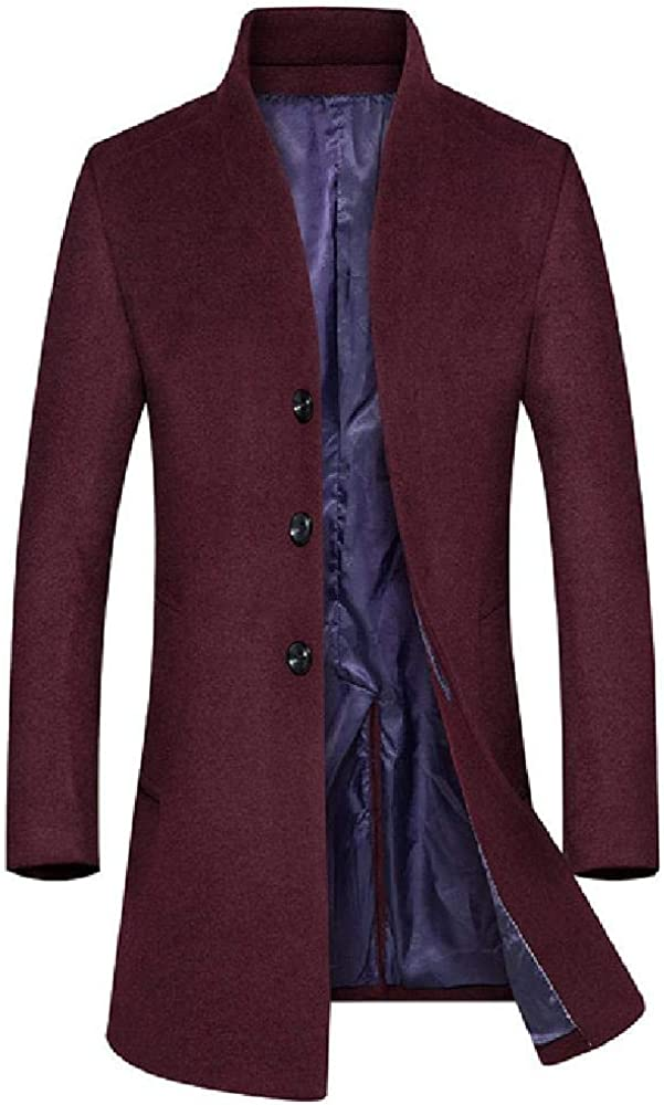 Abrigo de Invierno para Hombres Nuevo Collar de pie de Color sólido para Hombres Mezclas Simples Abrigo de Guisantes de Lana Abrigo de Gabardina Masculino