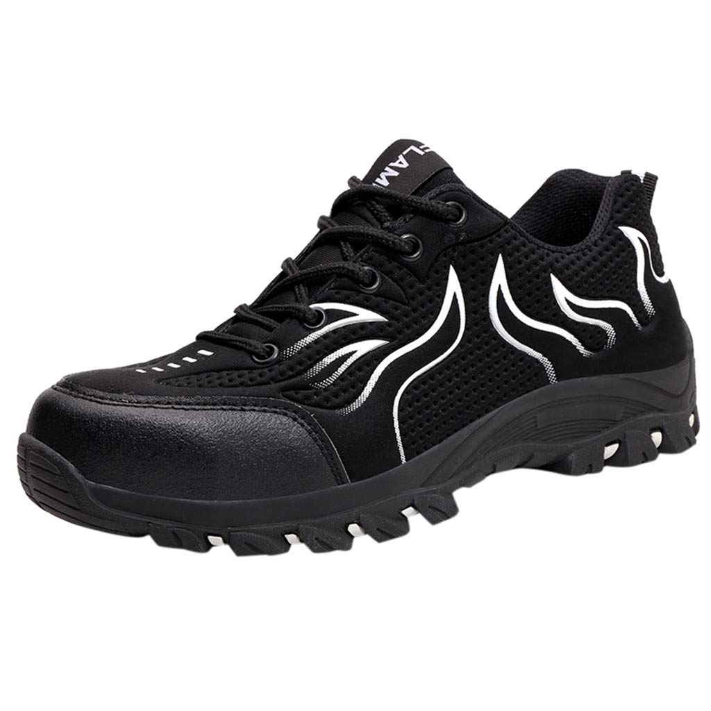 QueenMMMens Safety Boots Work Shoes Hiking Boots Outdoor Lightweight Shoes Backpacking Trekking Trails Black by QueenMM Sneakers