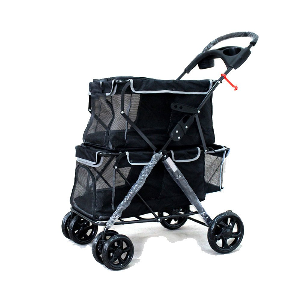 Navybluee EDYUCGA Pet Stroller Up And Down Two-level Dog Car Suitable For Small And Medium-sized Pet Dogs,Navybluee
